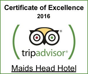 Maids Head Hotel Tripadvisor Certificate of Excellence 2016