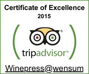 Winepress Tripadvisor Certificate of Excellence 2016