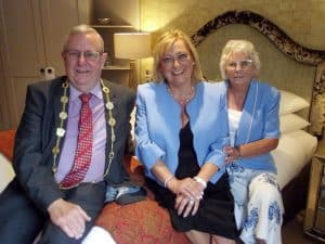 Left to right: The Lord Mayor of Norwich, Councillor David Fullman, Jenny Sadler and Dorothy Watts pictured in the refurbished Cathedral Suite