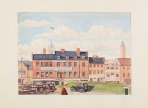 Castle Hotel Norwich, watercolour by T/St Ludwig Lund