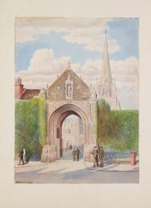Erpingham Gate, watercolour by T/St Ludwig Lund