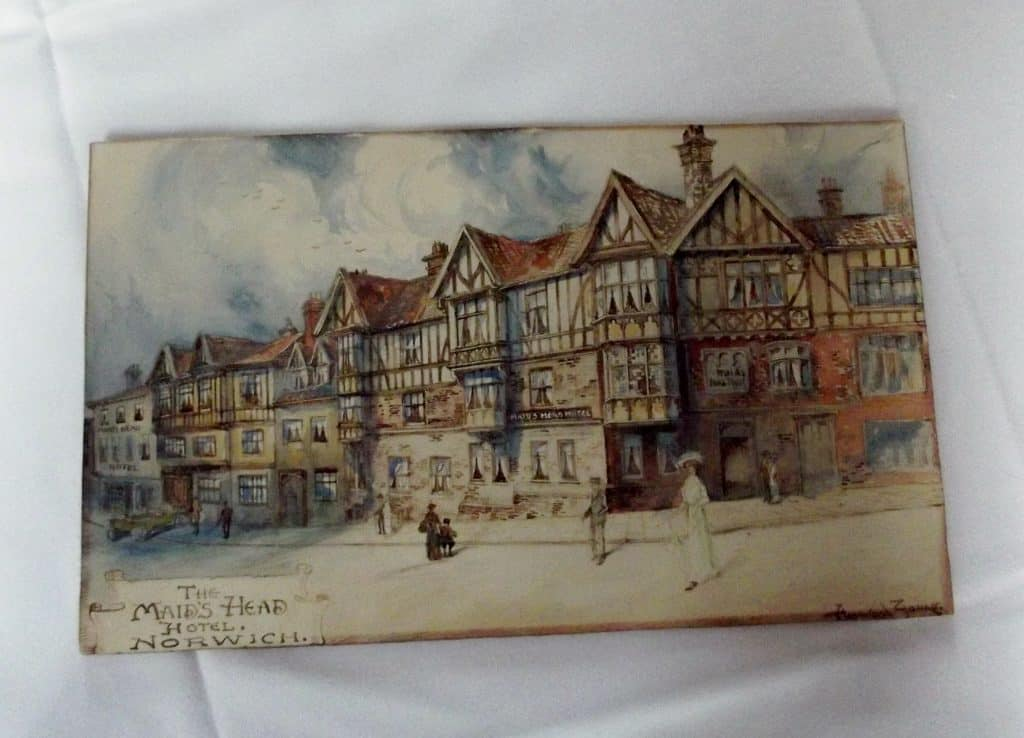 Watercolour of Maids Head Hotel by Walter Hayward-Young