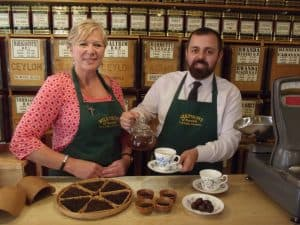 Debbie Harris and Sam Masters tasting the new Maids Head blend