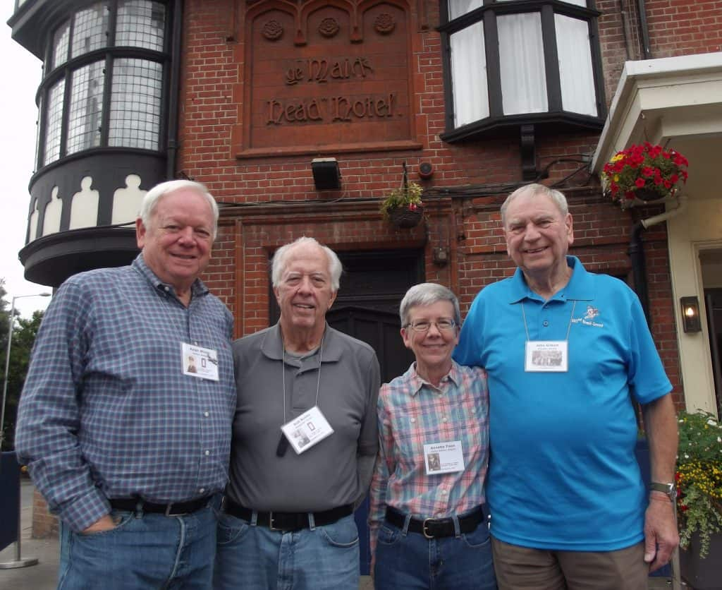 392nd Bomb Group Association officers outside the Maids Head Hotel, left to right: Ralph Winter Vice President, Bob Books President, Annette Tison Secretary and John Gilbert UK representative.