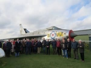 Association members at City of Norwich Aviation Museum in front of a Lightning in Tiger Squadron markings, which the squadron flew from RAF Coltishall in the early 1960s.