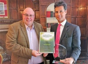 Andy Orchard presenting the Best Independent Hotel Award to David Chaplin