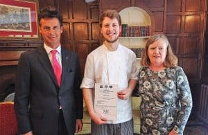 Simon Dean, Employee of the Quarter with Maids Head Chairman, David Chaplin and General Manager, Christine Malcolm