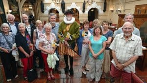 Sir Thomas Paston (Rob Knee) with guests on Norfolk Day