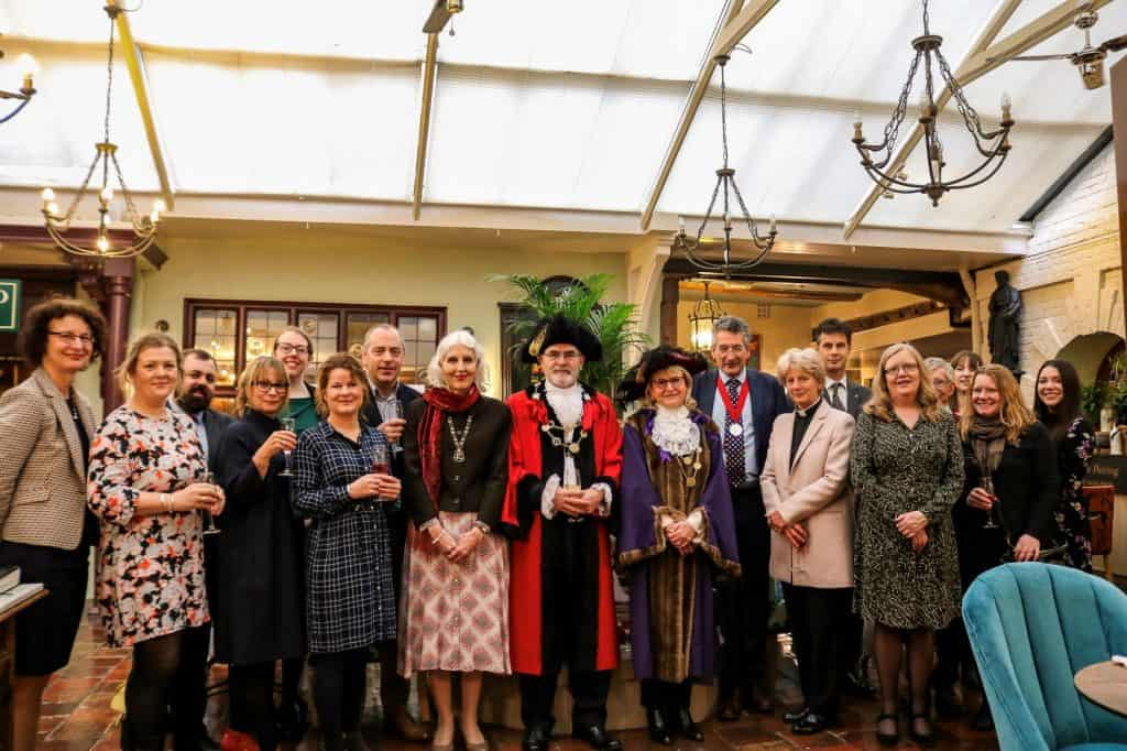 The Lord Mayor and Sheriff of Norwich with staff and guests in the Wine Press Restaurant