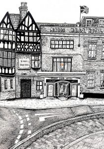 Hand drawing of the Maids Head hotel 2020